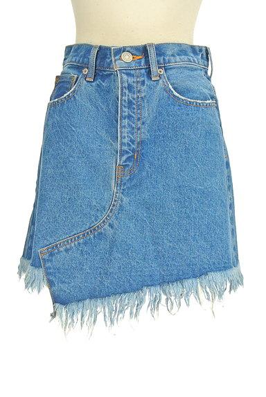 MOUSSY(マウジー)の古着「裾フリンジデニムスカート(ミニスカート)」大画像1へ