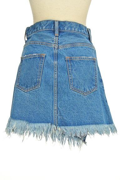 MOUSSY(マウジー)の古着「裾フリンジデニムスカート(ミニスカート)」大画像2へ