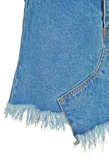 MOUSSY(マウジー)の古着「裾フリンジデニムスカート(ミニスカート)」大画像4へ