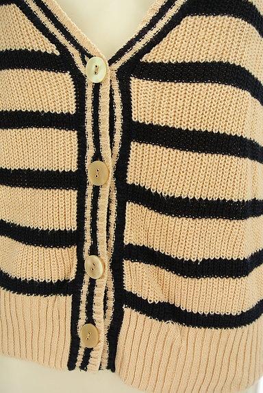 Lois CRAYON(ロイスクレヨン)の古着「ボーダーコットンニットカーディガン(カーディガン・ボレロ)」大画像4へ