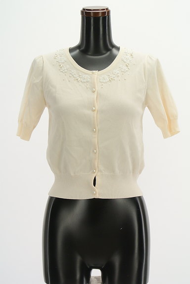 LAISSE PASSE(レッセパッセ)の古着「ビーズデザインコンパクトカーディガン(カーディガン・ボレロ)」大画像1へ