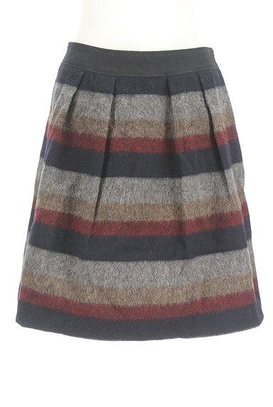 Jines(ジネス)の古着「膝丈ボーダーウールフレアスカート(スカート)」大画像1へ