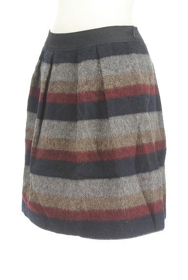 Jines(ジネス)の古着「膝丈ボーダーウールフレアスカート(スカート)」大画像3へ