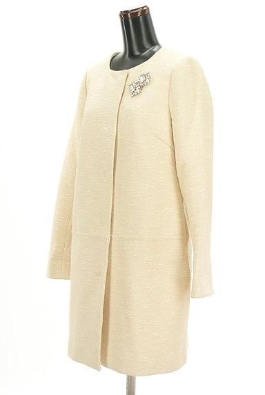 JUSGLITTY(ジャスグリッティー)の古着「ブローチ付きノーカラーロングコート(コート)」大画像3へ