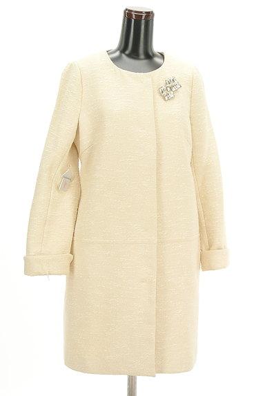 JUSGLITTY(ジャスグリッティー)の古着「ブローチ付きノーカラーロングコート(コート)」大画像4へ