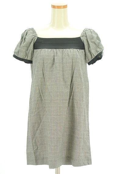 MOROKO BAR(モロコバー)の古着「パフ袖チェックチュニック(カットソー・プルオーバー)」大画像1へ