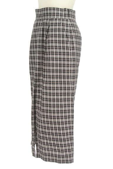 Khaju(カージュ)の古着「チェック柄スリットタイトスカート(ロングスカート・マキシスカート)」大画像3へ