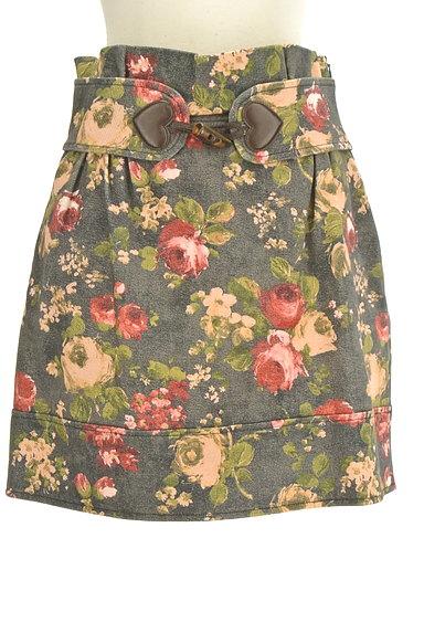 LOVE MOSCHINO(ラブモスキーノ)の古着「ハートベルト花柄ミニスカート(ミニスカート)」大画像1へ