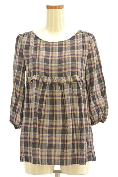PROPORTION BODY DRESSING(プロポーションボディ ドレッシング)の古着「チェック柄7分袖ペプラムカットソー(カットソー・プルオーバー)」大画像1へ