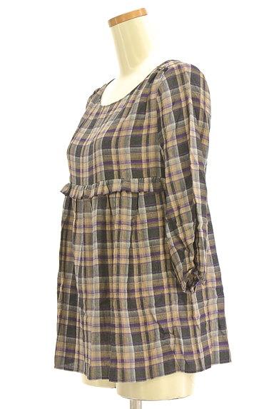 PROPORTION BODY DRESSING(プロポーションボディ ドレッシング)の古着「チェック柄7分袖ペプラムカットソー(カットソー・プルオーバー)」大画像3へ
