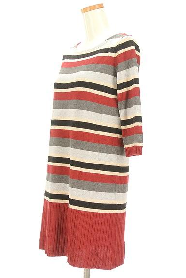 LOUNIE(ルーニィ)の古着「マルチボーダー7分袖ワンピ(ワンピース・チュニック)」大画像3へ