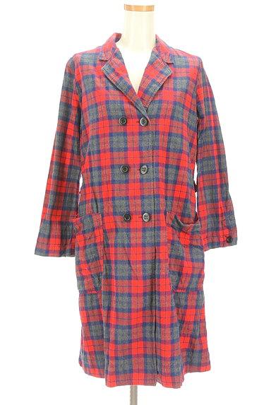 CHILD WOMAN(チャイルドウーマン)の古着「チェック柄ロングトレンチコート(トレンチコート)」大画像1へ