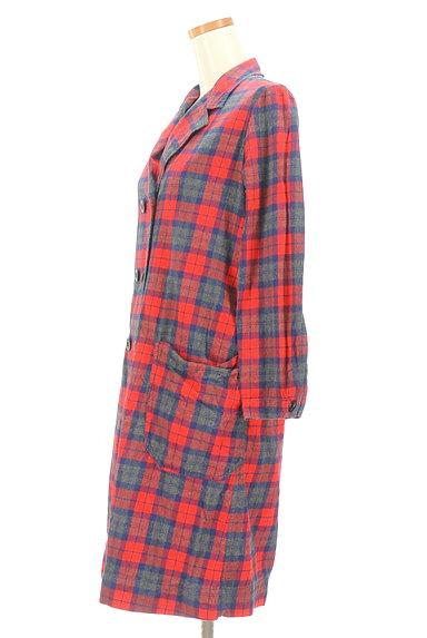 CHILD WOMAN(チャイルドウーマン)の古着「チェック柄ロングトレンチコート(トレンチコート)」大画像3へ