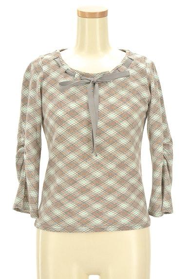 KUMIKYOKU(組曲)の古着「襟ぐりリボン七分袖カットソー(カットソー・プルオーバー)」大画像1へ