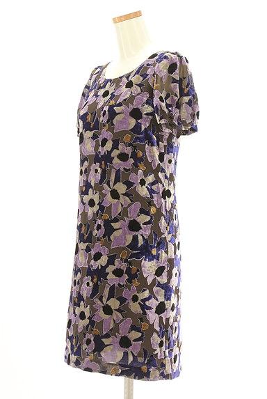 LOUNIE(ルーニィ)の古着「ベロア花柄シアーワンピース(ワンピース・チュニック)」大画像3へ