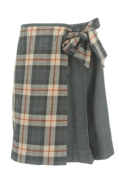 KUMIKYOKU(組曲)の古着「チェック×無地サイドリボンスカート(スカート)」大画像1へ