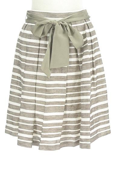 NATURAL BEAUTY(ナチュラルビューティ)の古着「ウエストリボンボーダーフレアスカート(スカート)」大画像1へ