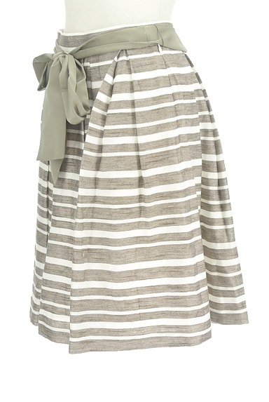 NATURAL BEAUTY(ナチュラルビューティ)の古着「ウエストリボンボーダーフレアスカート(スカート)」大画像3へ
