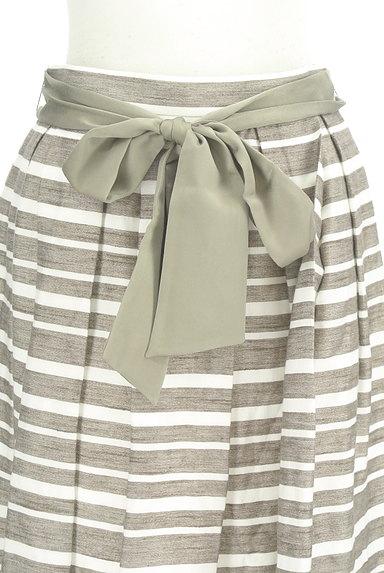 NATURAL BEAUTY(ナチュラルビューティ)の古着「ウエストリボンボーダーフレアスカート(スカート)」大画像4へ