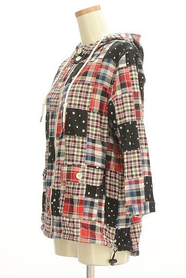 X-girl(エックスガール)の古着「パッチワーク風フード付ブルゾン(ブルゾン・スタジャン)」大画像3へ