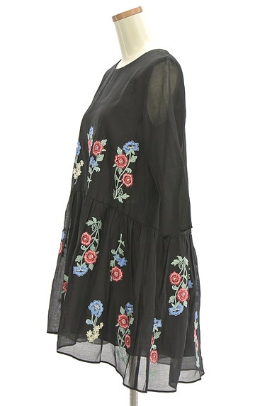 deicy(デイシー)の古着「花柄刺繍シアー7分袖ワンピース(ワンピース・チュニック)」大画像3へ