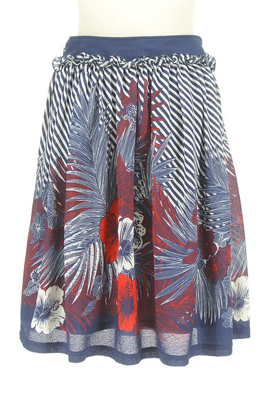 DOUBLE STANDARD CLOTHING(ダブルスタンダードクロージング)の古着「斜めボーダー×花柄フレアスカート(スカート)」大画像2へ