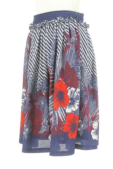 DOUBLE STANDARD CLOTHING(ダブルスタンダードクロージング)の古着「斜めボーダー×花柄フレアスカート(スカート)」大画像3へ