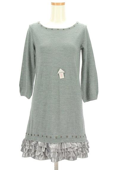 Apuweiser riche(アプワイザーリッシェ)の古着「裾サテンフリルニットワンピース(ワンピース・チュニック)」大画像4へ