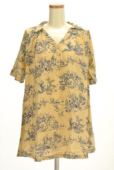 TABASA(タバサ)の古着「スキッパーカラー総柄シャツ(カットソー・プルオーバー)」大画像1へ