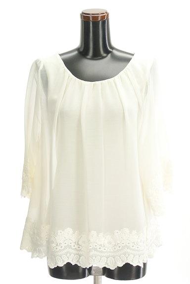 STRAWBERRY-FIELDS(ストロベリーフィールズ)の古着「裾刺繍フレアシフォンニット(カットソー・プルオーバー)」大画像1へ