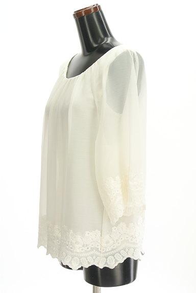 STRAWBERRY-FIELDS(ストロベリーフィールズ)の古着「裾刺繍フレアシフォンニット(カットソー・プルオーバー)」大画像3へ