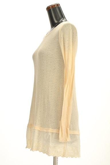 CUBE SUGAR(キューブシュガー)の古着「裾コットンレースロングフレアニット(ニット)」大画像3へ