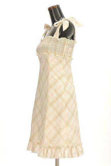 Feroux(フェルゥ)の古着「リボン&フリル膝丈キャミワンピ(キャミワンピース)」大画像3へ