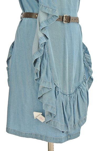PATRIZIA PEPE(パトリッツィアペペ)の古着「変形フリルデニム風キャミワンピ(キャミワンピース)」大画像4へ