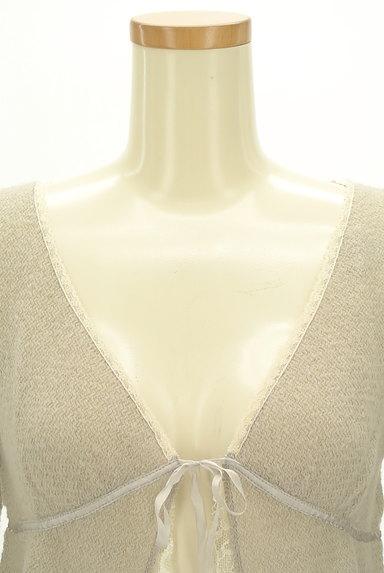 Rouge vif La cle(ルージュヴィフラクレ)の古着「レース&リボン7分袖カーディガン(カーディガン・ボレロ)」大画像4へ