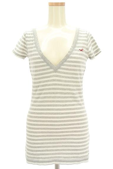 Hollister Co.(ホリスター)の古着「VネックボーダーロングTシャツ(Tシャツ)」大画像1へ