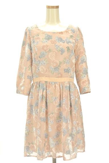 LAISSE PASSE(レッセパッセ)の古着「ベロア花柄シアーワンピース(ワンピース・チュニック)」大画像1へ