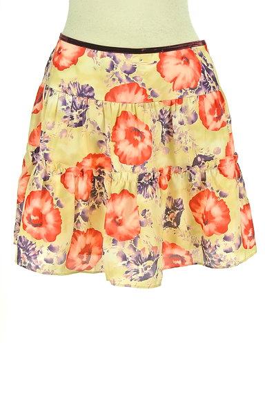 LAISSE PASSE(レッセパッセ)の古着「花柄フレアサテンミニスカート(ミニスカート)」大画像1へ