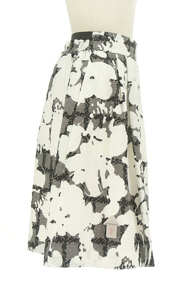 NARA CAMICIE(ナラカミーチェ)の古着「ミディ丈モノトーン花柄スカート(スカート)」大画像4へ