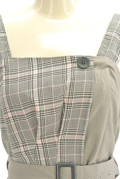 dazzlin(ダズリン)の古着「無地×チェック柄ベルト付きワンピ(キャミワンピース)」大画像4へ