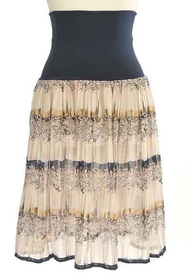 Rouge vif La cle(ルージュヴィフラクレ)の古着「膝下丈花柄シアーフレアスカート(スカート)」大画像1へ