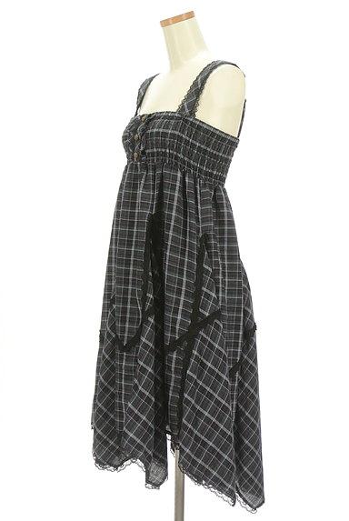 axes femme(アクシーズファム)の古着「アシメトリーチェック柄キャミソールワンピース(キャミワンピース)」大画像3へ