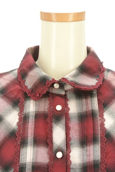 axes femme(アクシーズファム)の古着「クラシカルレースチェックシャツ(カジュアルシャツ)」大画像4へ