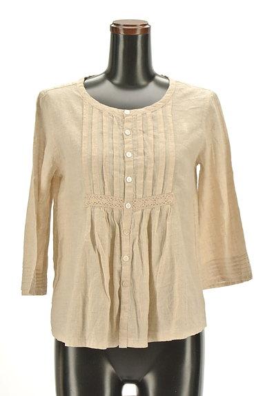 CUBE SUGAR(キューブシュガー)の古着「ナチュラル7分袖ブラウスシャツ(カジュアルシャツ)」大画像1へ