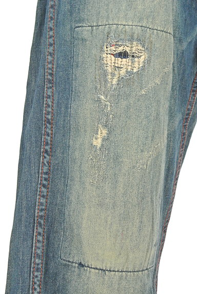 CUBE SUGAR(キューブシュガー)の古着「ダメージ加工ワイドデニム(デニムパンツ)」大画像5へ