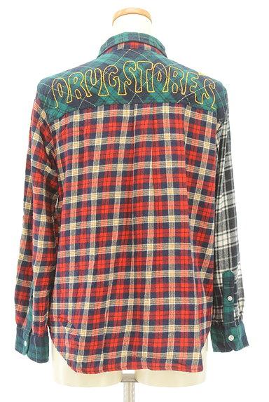 drug store's(ドラッグストアーズ)の古着「パッチワーク風切替チェック柄シャツ(カジュアルシャツ)」大画像2へ