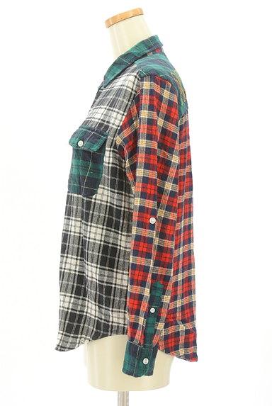 drug store's(ドラッグストアーズ)の古着「パッチワーク風切替チェック柄シャツ(カジュアルシャツ)」大画像3へ