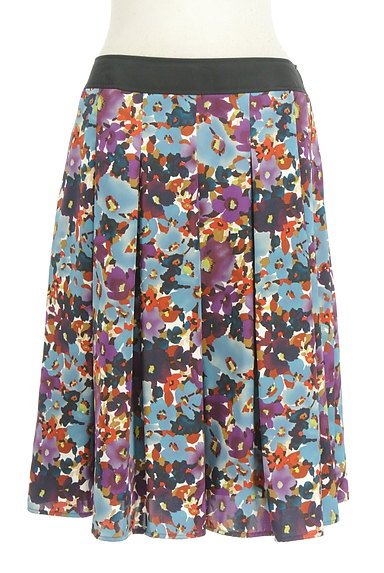LUI CHANTANT(ルイシャンタン)の古着「膝下丈花柄サテンスカート(スカート)」大画像1へ