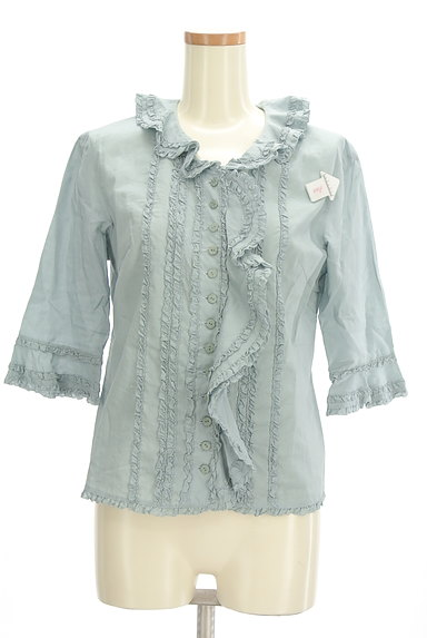 INGEBORG(インゲボルグ)の古着「七分袖フリルコットンブラウス(ブラウス)」大画像4へ
