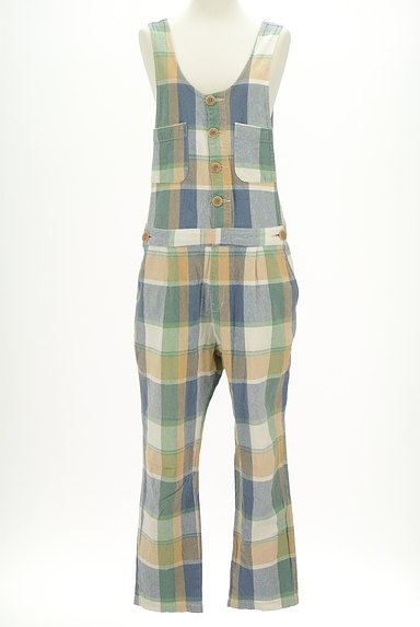 CUBE SUGAR(キューブシュガー)の古着「チェック柄コットンリネンサロペット(オーバーオール・サロペット)」大画像1へ